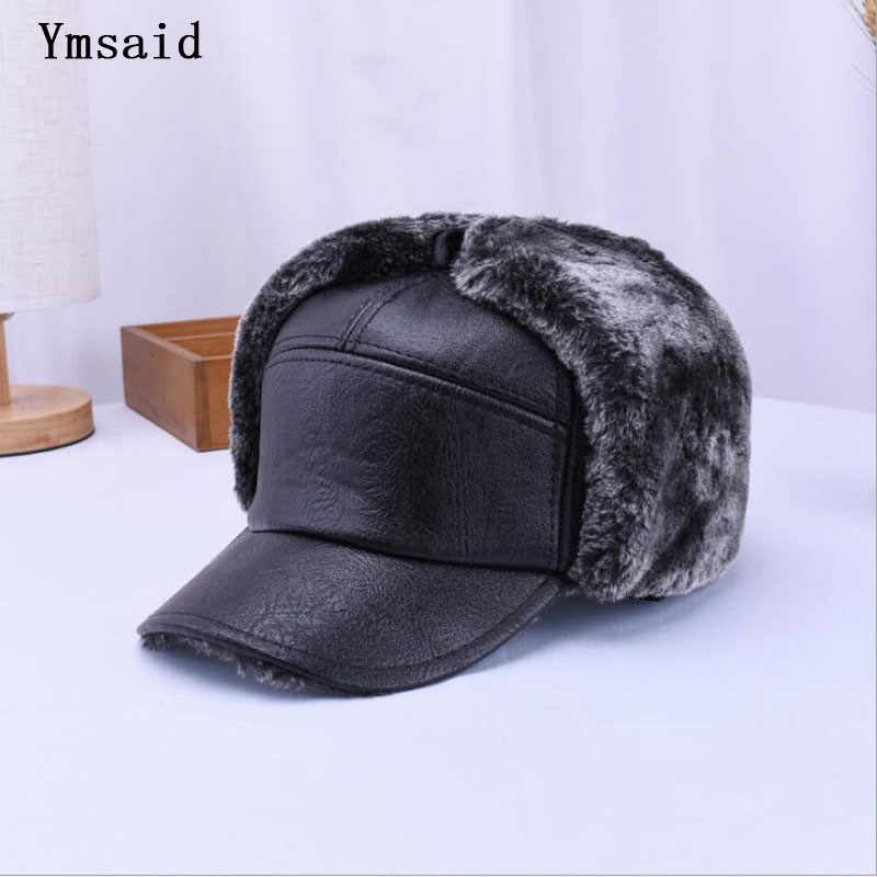 Ymsaid Winter Men s Leather Baseball Cap Warm Thick Earflap Hat Black  Snapbacks Dad Cap For Male 576688ca3c78