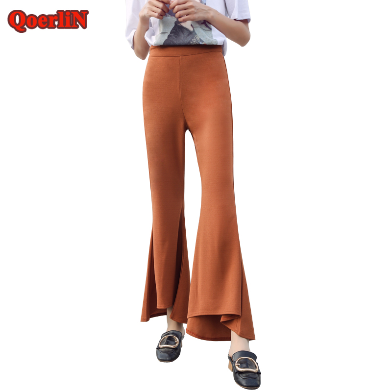 QoerliN Thin   Pants     Capri   Flare   Pants   2018 Summer Hot Trouser Lady High Waist Stretch Flower   Pants   Baggy   Pants   Female Pantacourt