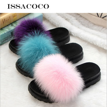 ISSACOCO Womens Real Fox Fur Slides Women Non-slip Fluffy Slippers Furry Ladies Cute Plush Hair