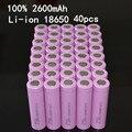 40 pçs/lote 3.7 V 2600 mAh li-ion recarregável Original 18650 ICR18650 26F Bateria Para ICR18650-26F 2600 mAH baterias