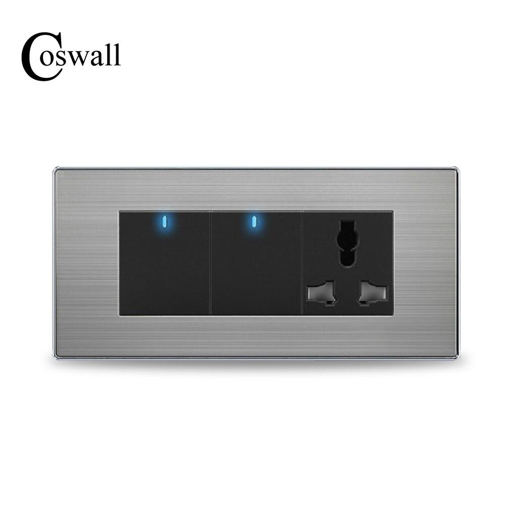 COSWALL 2 Gang 2 Way Mur Interrupteur Led Indicateur Avec 3 Trou Universel Prise D'alimentation Panneau En Acier Inoxydable 154mm * 72mm