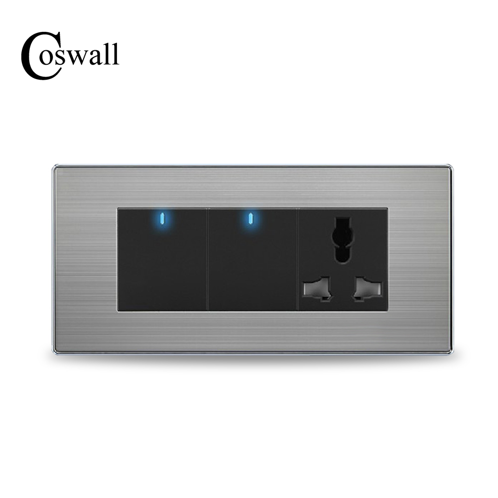 COSWALL 2 Gang 2 Way Wall Light Switch LED Indicator With 3 Hole Universal Power Socket Stainless Steel Panel 154mm * 72mm high quality e9 series brushed stainless steel gold wall switch with fluorescence 4 gang 1 way single control switch panel