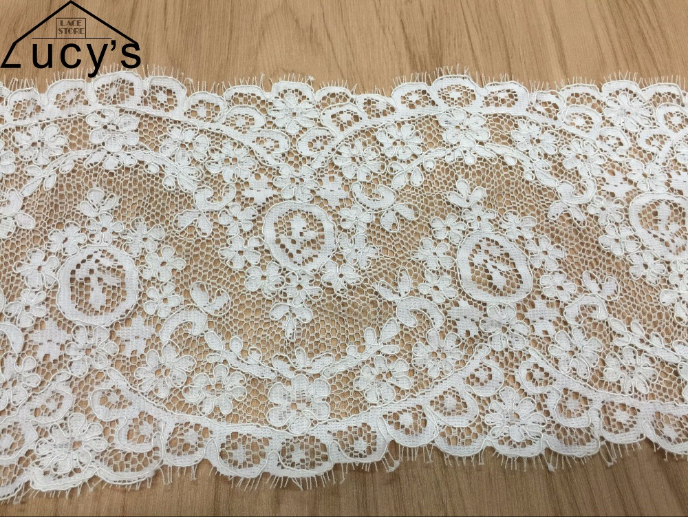 18CMx150CM/piece Light ivory eyelash jacquard lace trim double edging scallop lace trims sewing for wedding veils NEW