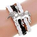 Hot pulsera de múltiples capas pulsera de cuero Trenzado pulsera caballo jogos vorazes animal pulseras pulsera masculina pulseira couro