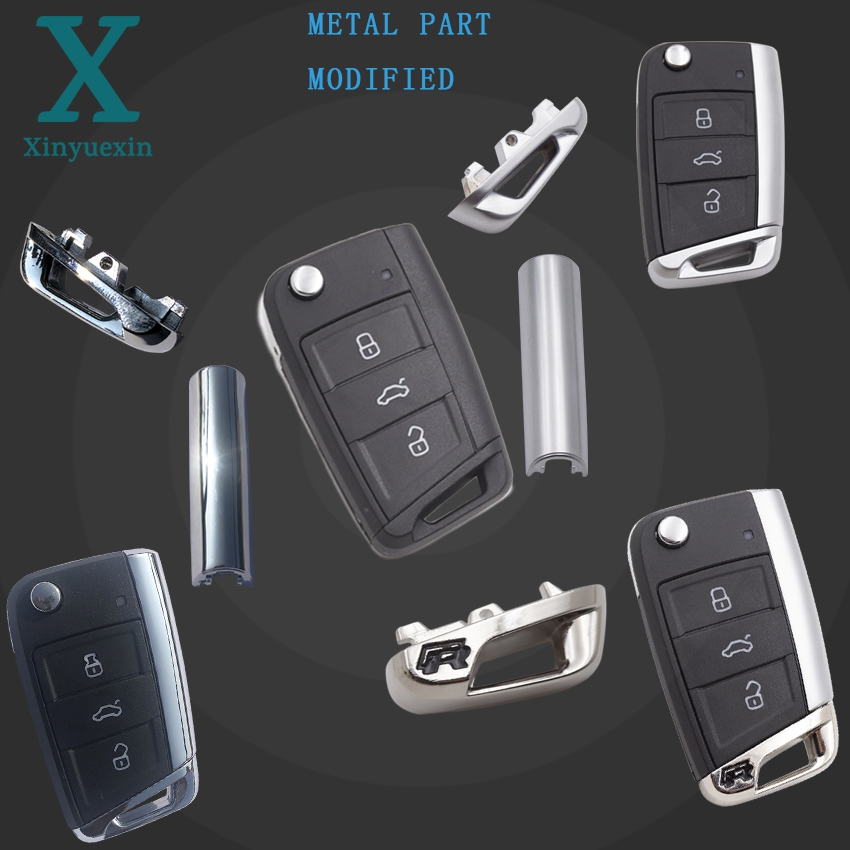Xinyuexin Folding Car Key Shell For vw gollf 7 MK7 for skoda octavia A7 for seat Remote Keyless Auto Metal Part Replacement(China)