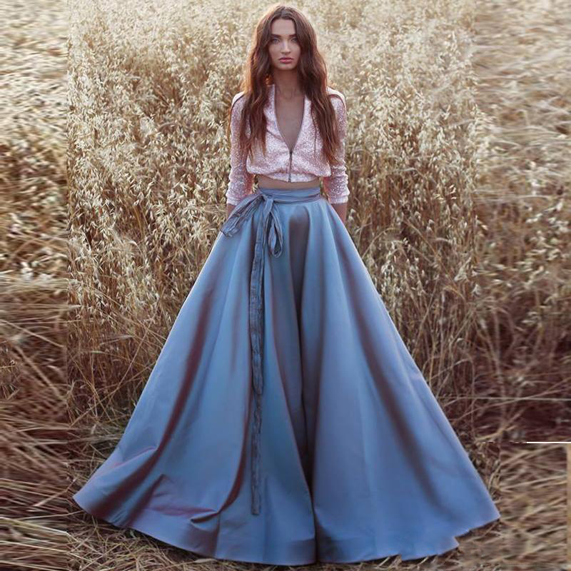 Elegant Blue A-line Satin Skirts For Women With Sash Bow Puffy Custom Made Female Formal Long Skirt Faldas Largas Mujer