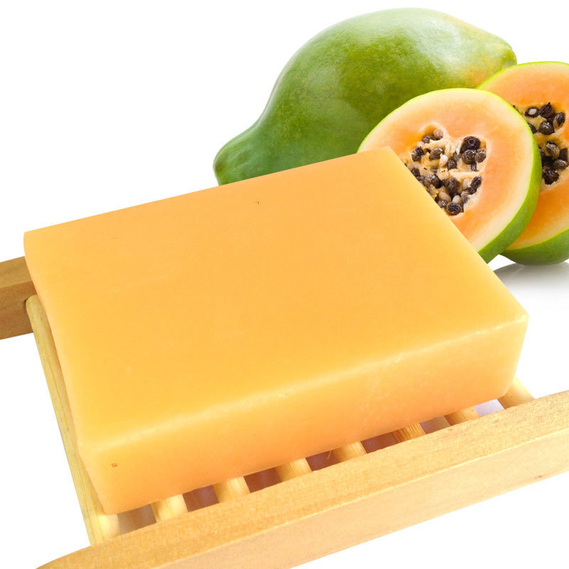 1pc Natural Green Papaya Whitening Handmade Soap Thailand Whitening Skin Care Remove Acne Moisturizing Deep Cleansing Bath Soap