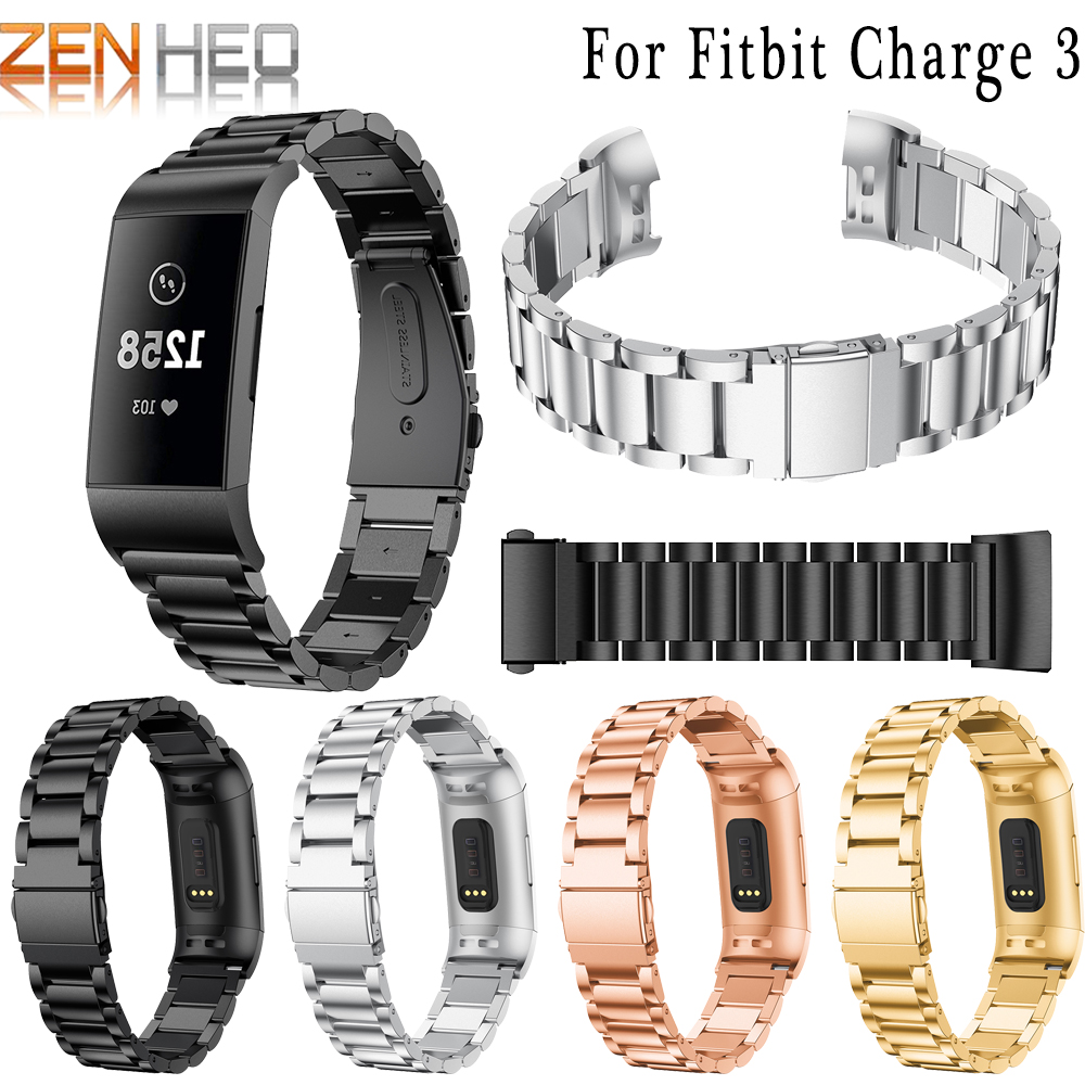 Fashion Stainless Steel Watch Band Strap For Fitbit Charge 3 Link Bracelet Replacement Watchband For Fitbit Charge 3 Luxury Band