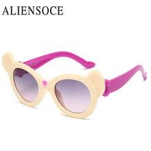 Niños UV400 Gafas de Sol Lindo Orejas de Oso Muchachas Del Muchacho Divertido Encantador de Los Niños gafas de Sol Redondas Gafas de Sol Gafas 2017