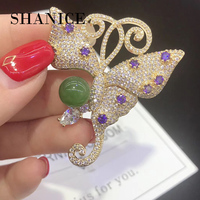 SHANICE baroque coloured glaze butterfly brooch pins snail on a branch fashion women jewelry free shipping gold color