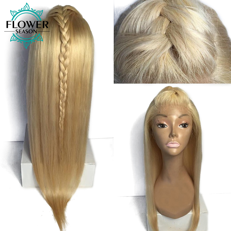 FlowerSeason Malaysian Blonde #613 Full Lace Human Hair Wigs Silky Straight Remy Hair With Baby Hair Bleached Knots Hand Tied