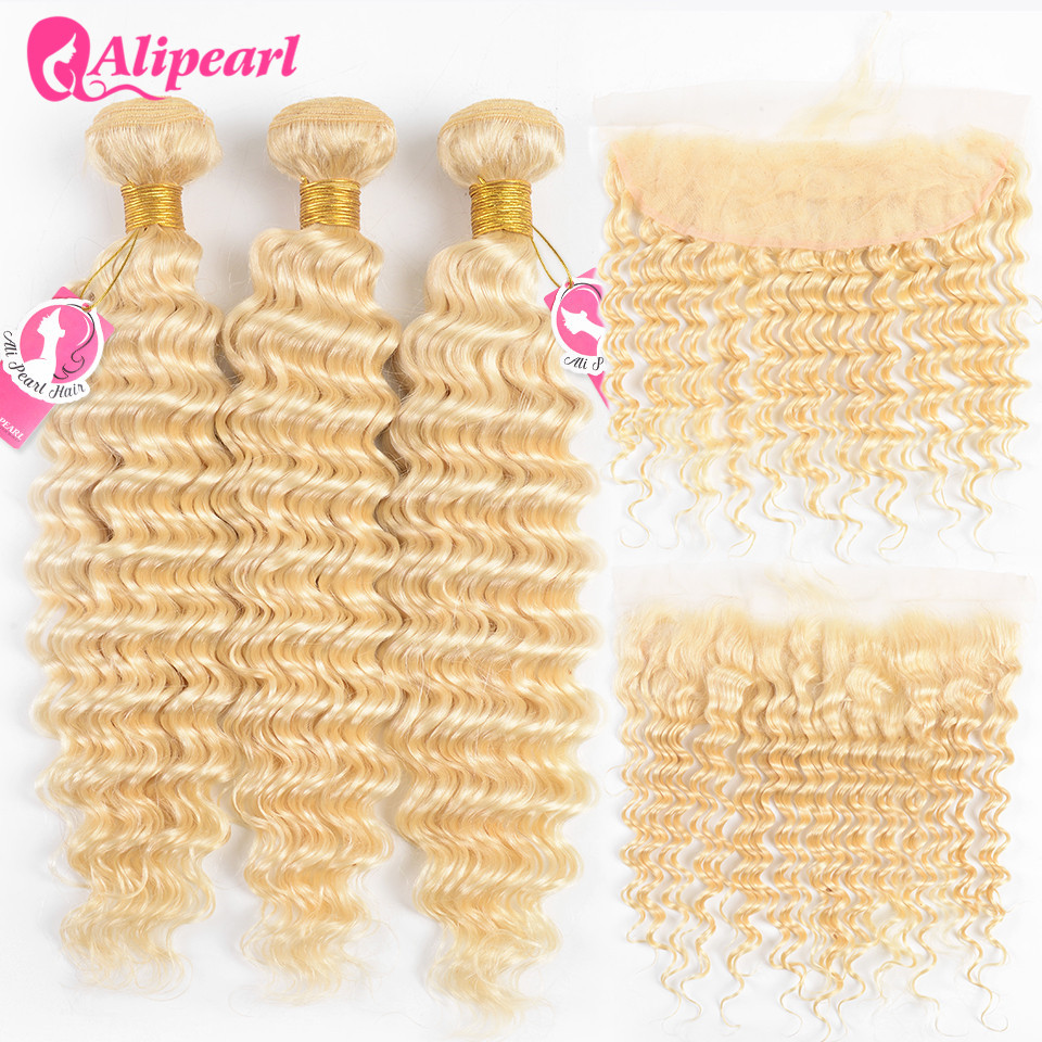 AliPearl Hair Deep Wave 613 Bundles With Frontal Pre Plucked Platinum Blonde Brazilian Hair Weave 3 Bundles With Frontal Remy image