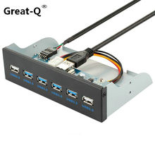 Great-Q  19Pin+9Pin 2 Port USB2.0 + 4 port  USB 3.0 hub  Front Panel Combo Bracket Adapter For Desktop Internal 3.5 CD DVD ROM mezzanine de l alcazar volume 4 2 cd dvd