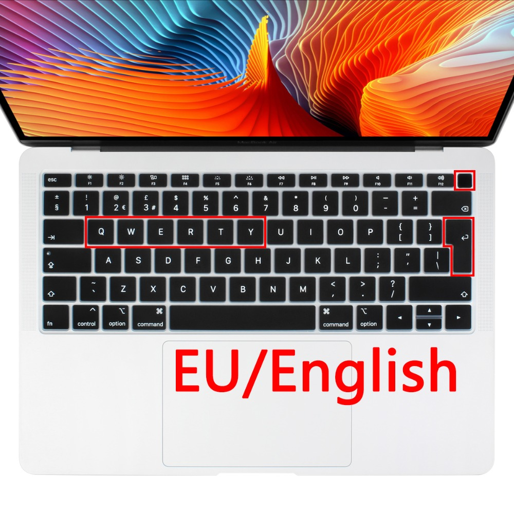 Red 2020 Silicone French Keyboard Cover for MacBook Air Pro 13 15 17 Protector for Mac Book Keyboard France EU Euro