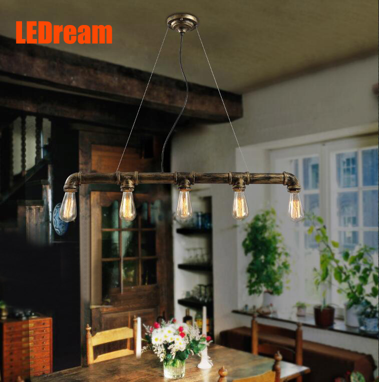 Edison Personalized bar Lighting counter lamps vintage pendant lights E27 water pipe pendant lamp for Warehouse 3pcs E27 bulbs modern edison personality industrial lighting counter lamps cage vintage pendant lights pendant lamp edison bulbs ac 110 220v