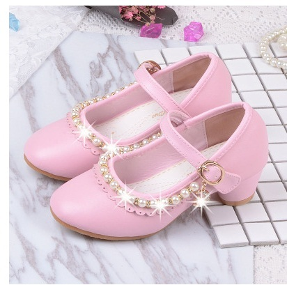 Children Elegant Princess Sandals Kids Girls Wedding PU Leather Shoes High Heels Dress Party Beaded Shoes For Girls Pink White