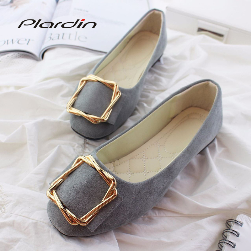 Plardin 2019 Fashion Flock Women's Flats For New Summer Slip-On Round Toe Casual Flat Shoes Basic Ballet Shoes Woman Size Plus