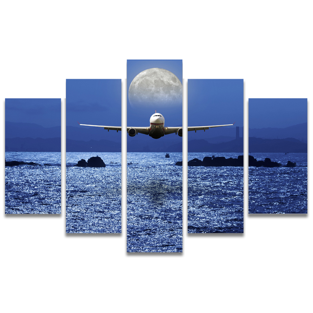 Unframed Canvas Painting Sea Level Aircraft Full Moon Photo Picture Prints Wall Picture For Living Room Wall Art Decoration