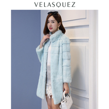 Stand collar wave cut striped genuine rabbit fur winter coat women full sleeve real fur coats and jackets new autumn g391