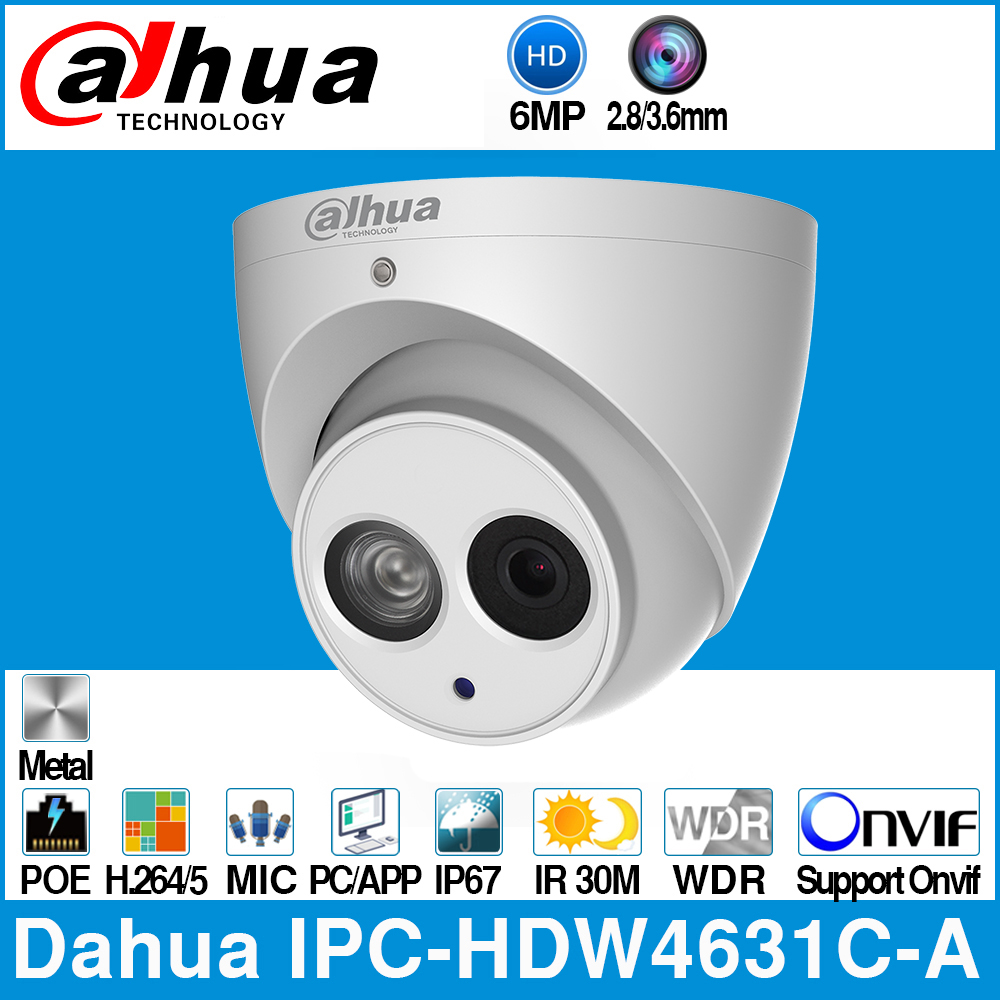 Dahua IPC-HDW4631C-A 6MP HD POE réseau Mini dôme IP caméra boîtier en métal intégré micro CCTV 30M Onvif IR mise à jour de IPC-HDW4433C-A