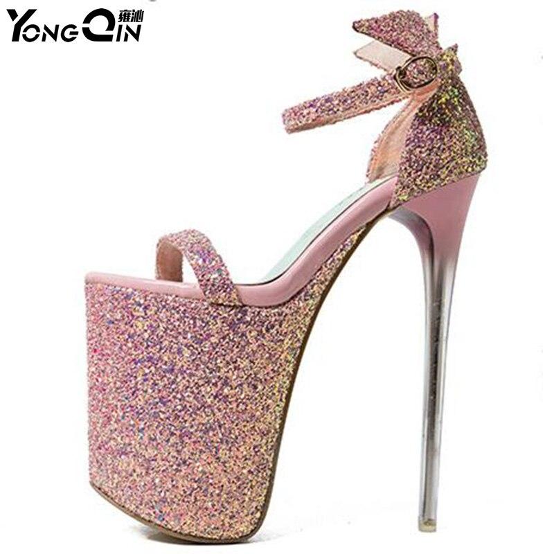 Модные летние 20 см пикантные шпильки женские босоножки на высоком каблуке Лидер продаж 2 цвета Размер 34-43