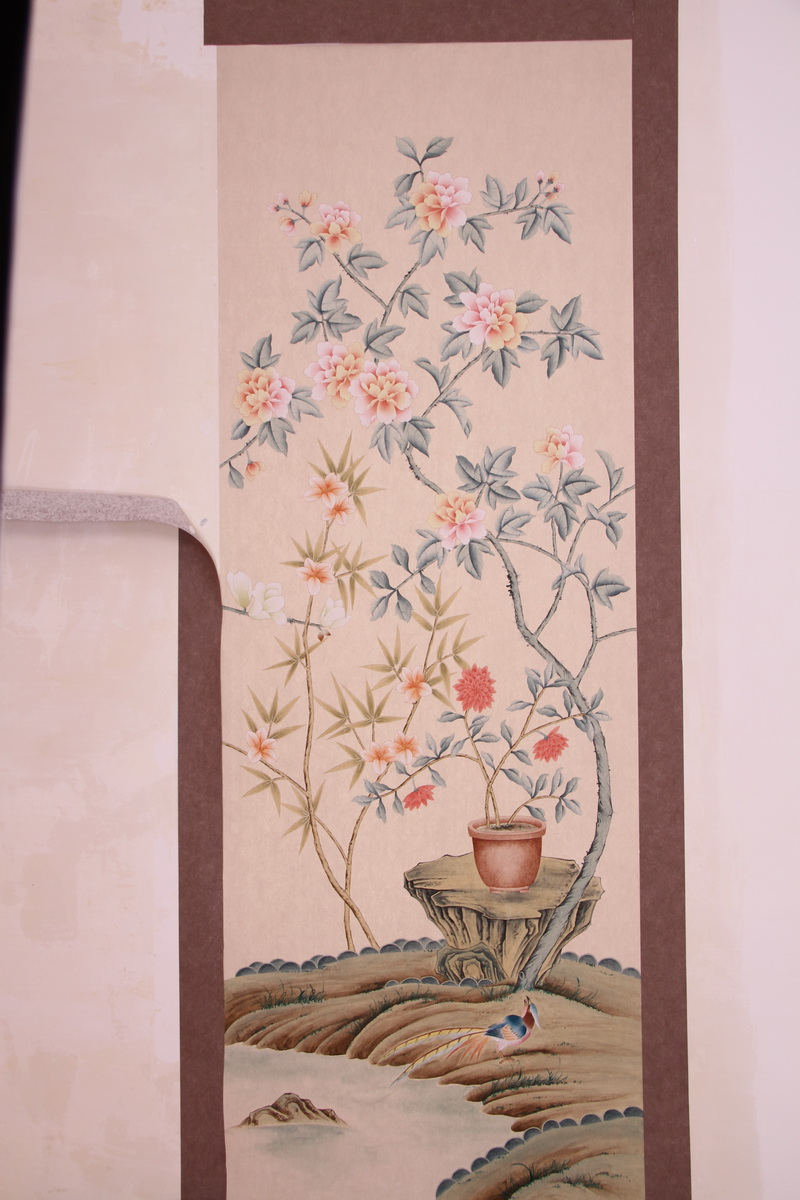 Classic Hand-painted silk wallpaper painting painting flowers with birds wallcovering many arts and background optionalClassic Hand-painted silk wallpaper painting painting flowers with birds wallcovering many arts and background optional
