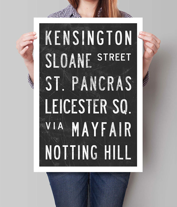 Print Distressed Subway Sign London UK City Print Poster Vintage ...