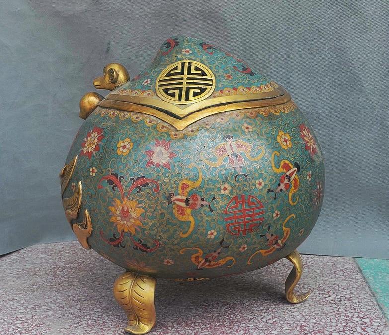 15 China Cloisonne Gilt Monkey Longevity Peach Statue Incense Burner Censer