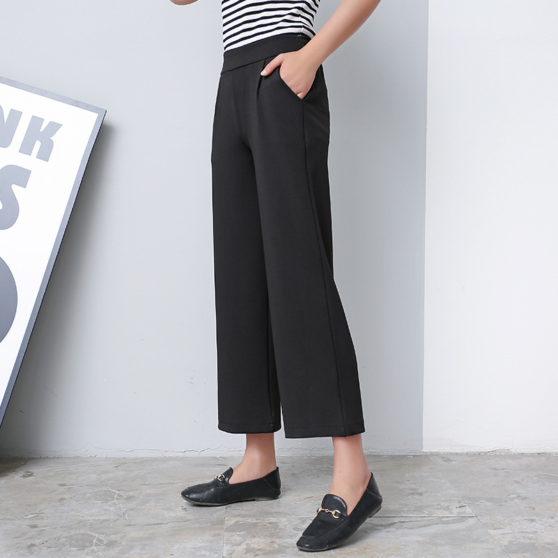 Women 2018 New autumn Winter Black Wide Leg Pants S-3XL Large Size Ankle-Length Loose Female High Waist casual thin nine Pants