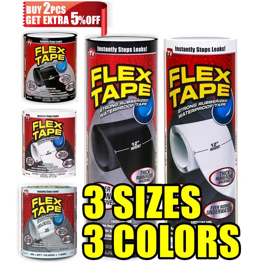 New 4 8 12 Wide Flex Tape Strong Rubberized Waterproof Tape Hose Repair Connectors