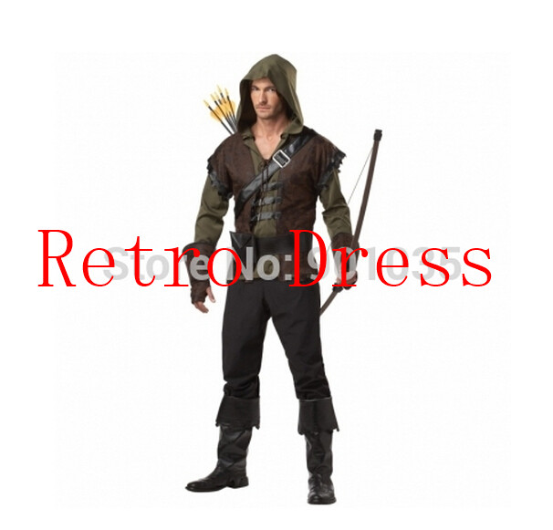 FREE SHIPPING zy565 Mens Robin Hood Prince Of Thieves Peter Pan Fancy Dress Costume All Sizes halloween Costume For Men