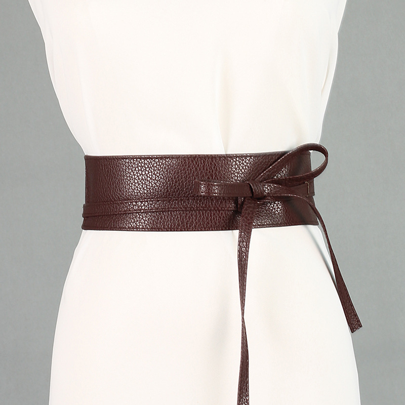 Spring Elegant Women Fashion Color Soft Faux Leather Wide Belt Self Tie Wrap Around Waist Band Dress Belt New