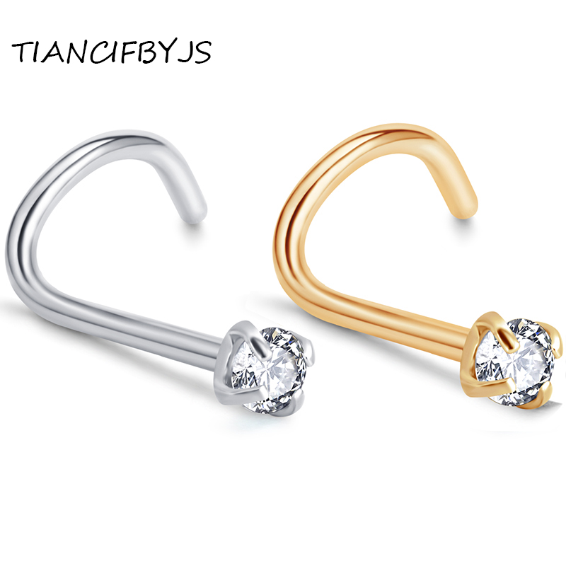 TIANCIFBYJS Stainless Steel Zircon Twist Screw Nose Stud Ring Ear Cartilage Wrap Ring Tragus Earring Piercing Jewelry 0.8mm