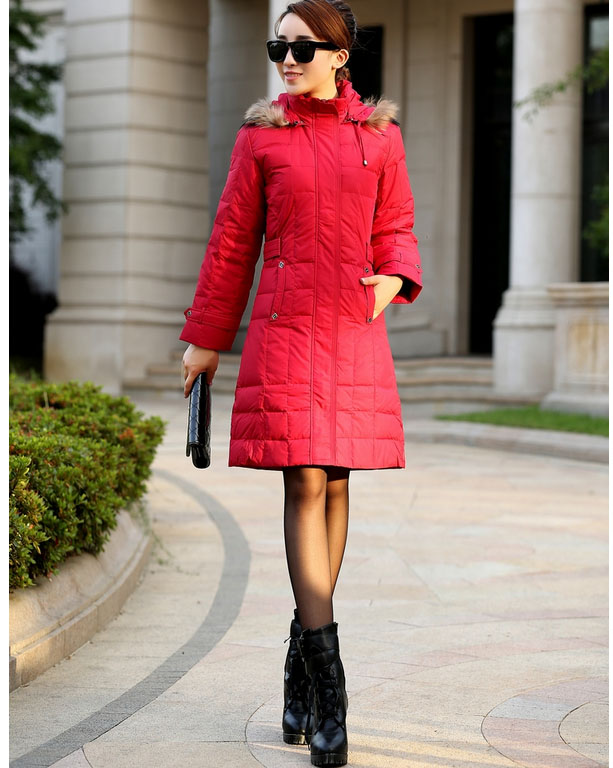 Free shipping 2016 New Women Plus size M to 3XL Solid Slim Black Red  Yellow 3 color 4 size Down with Fur Collar Hat