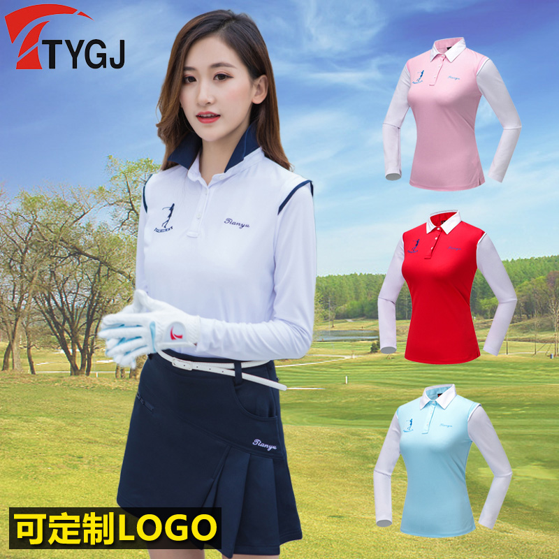 2018 New Lady Tops Fit Spring Summer Long Sleeved Shirt Stitching Sportswear Golf/Tennis Clothes Jerseys Bottom Polo T-shirts polo golf clothes costume lady golf zipper collar shirt cotton autumn jacket long sleeved tshirt fashion korean female clothing