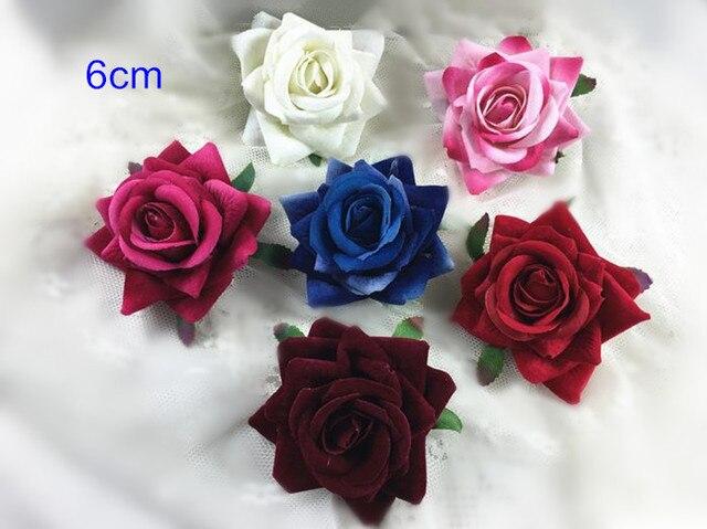 20 stücke Gefertigt Stoff Rose Blumen, 6 cm (2,4 \