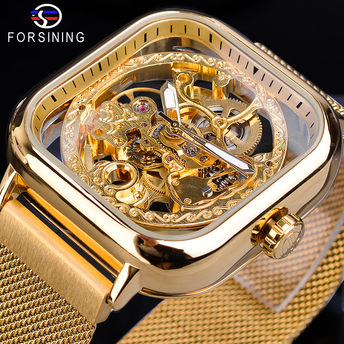 Forsining Men Mechanical Watches Automatic Self-Wind Golden Transparent Fashion Mesh Steel Wristwatch For Man Male Hot Hour 2019