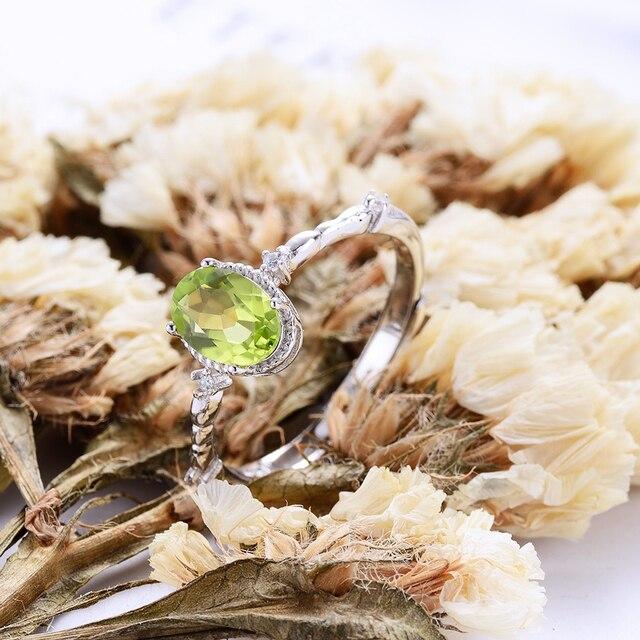 Mopera Vendita Calda Della Signora 5mm * 7mm 0.86ct 100% Peridoto Naturale Anello Femminile Gioielli In Argento Sterling Aggancio di Cerimonia Nuziale anelli Per Le Donne