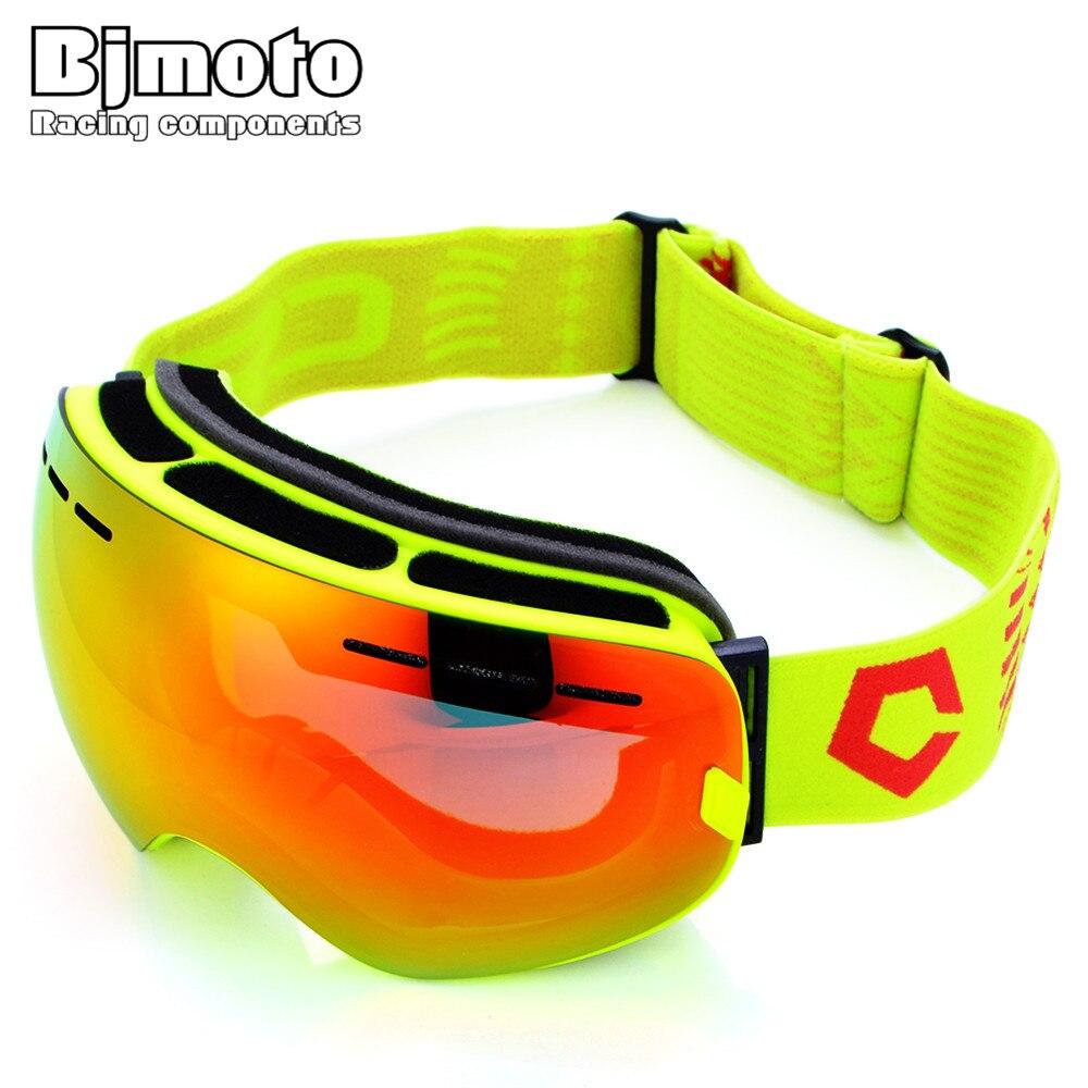 Bjmoto Snow Ski Goggles Glasses Anti-fog Lens Snowboard Snowmobile Motorcycle skiing goggles