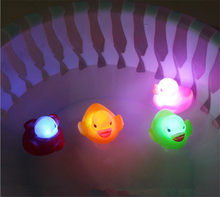 Rubber Duck Bath Flashing Light Toy Auto Color Changing Baby Bathroom Toys Multi Color LED Lamp Bath Toys For Children(China)