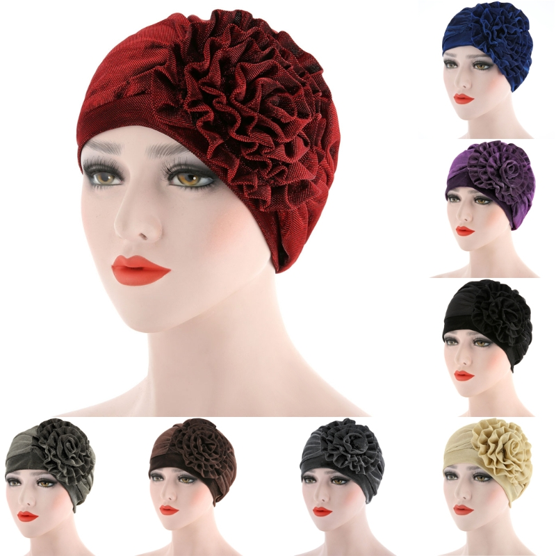 Muslim Islamic Womens Luxury Beanie Cap Has Metal Flower Turban Chemo Headwear