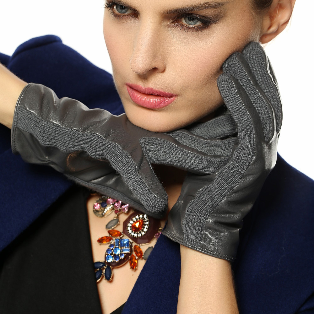 free shipping women winter Genuine leather gloves fashion warm lambskin driving wrist