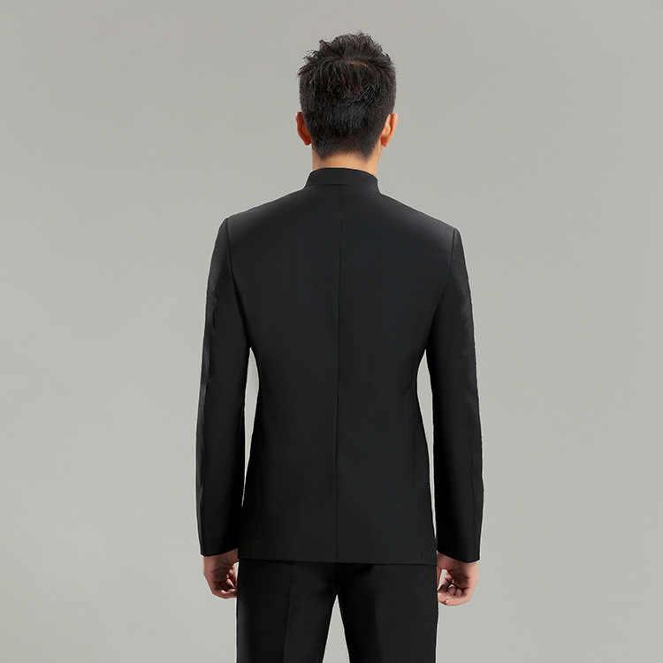 9681c804c Trajes de cuello de soporte ajustado para hombre, trajes de Tang chinos de  moda sólida, trajes casuales elegantes para hombre, conjunto de trajes de  ...