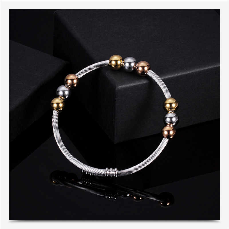 2019 Stainless Steel Men Bracelets Adjustable Spring Wire Line Colorful Beads Cross Cable Stretch Bracelet Bangles For Women R5G