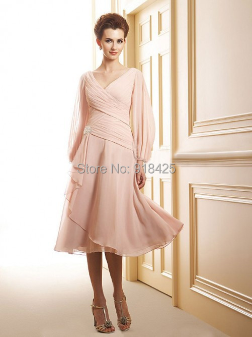 Elegant blush pink chiffon tea length mother of the bride for Mother of the bride dresses for outdoor summer wedding