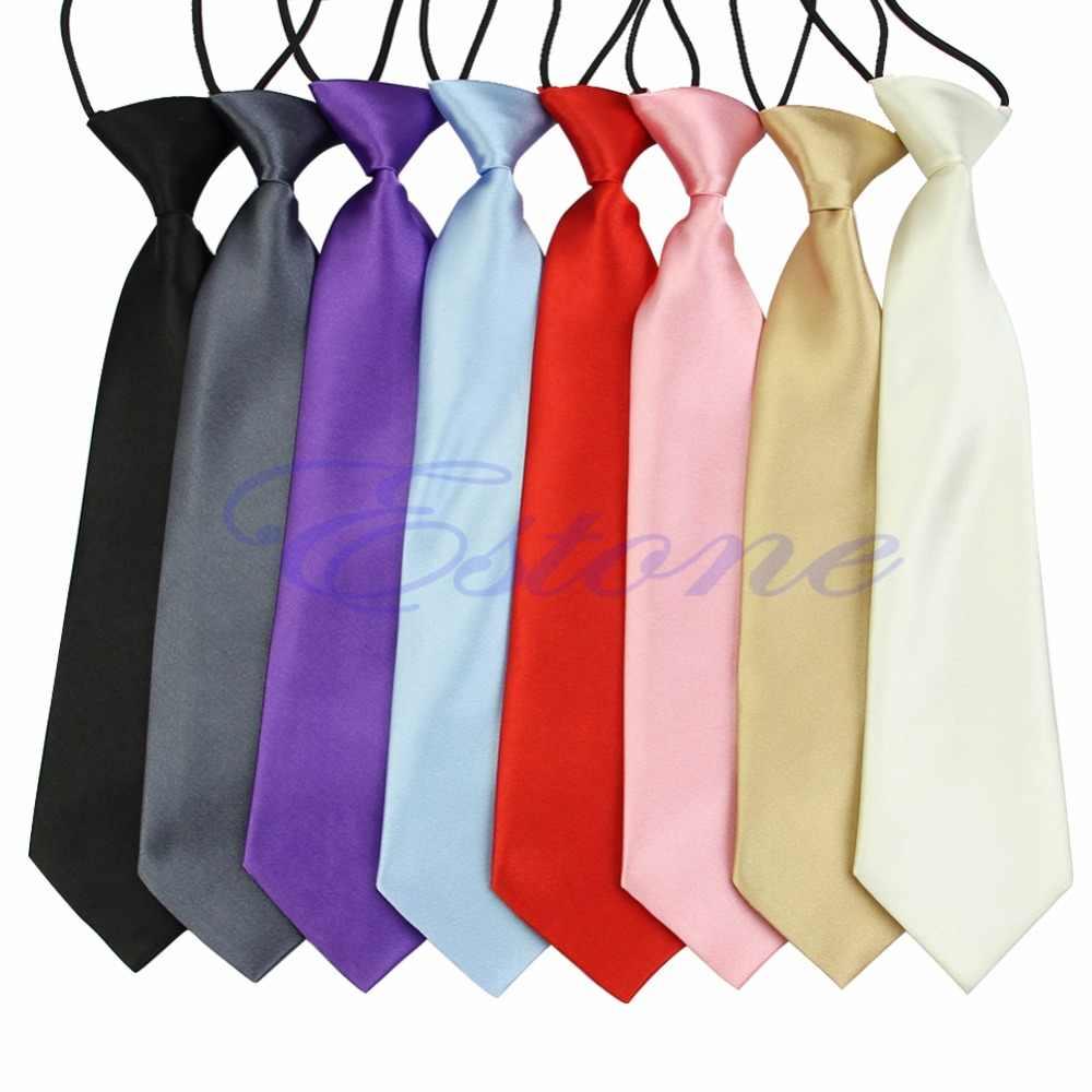Boy Tie Kids Baby School Boy Wedding Necktie Neck Tie Elastic Solid 11 Colors G$