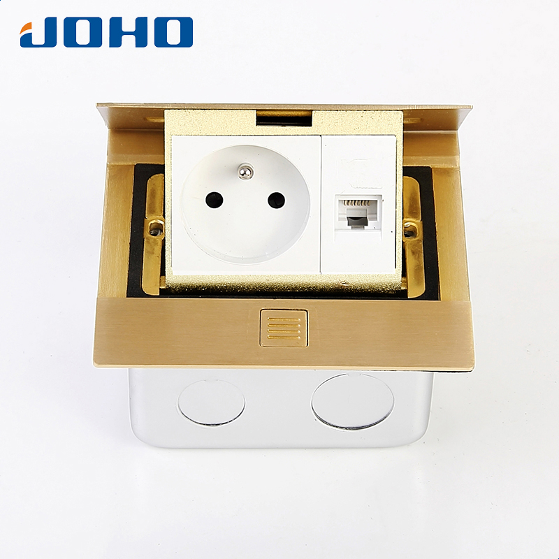 Brass Slow Pop Up Floor Socket Box with 16A French socket and RJ45 data brass slow pop up floor socket box with 15a 125v us socket rj45 computer data