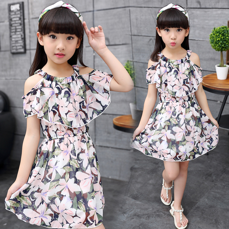 big girls chiffon dress teenagers dress little girls dresses summer 2018 kids girl clothes size for 3 4 5 6 7 8 9 10 11 12 years