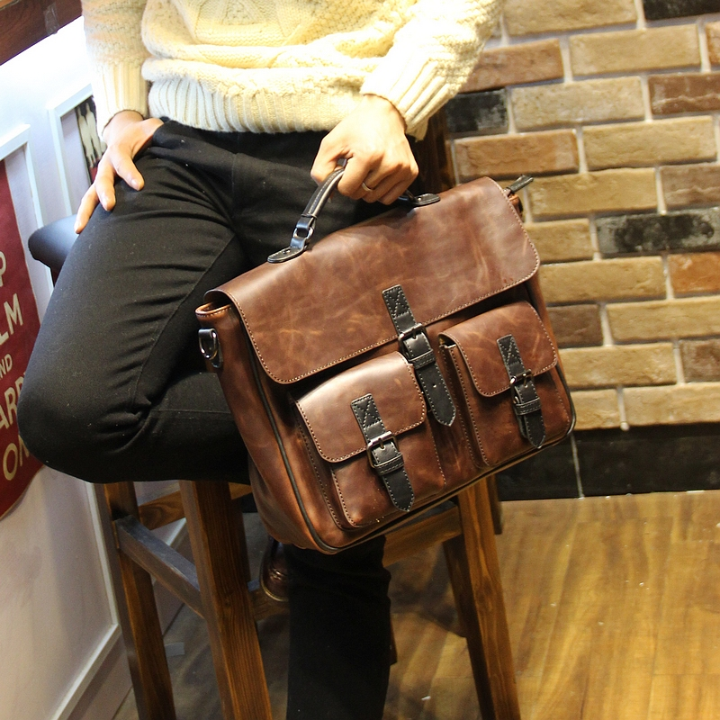 New Fashion Retro men bag crazy horse leather men s handbags casual business shoulder bag briefcase