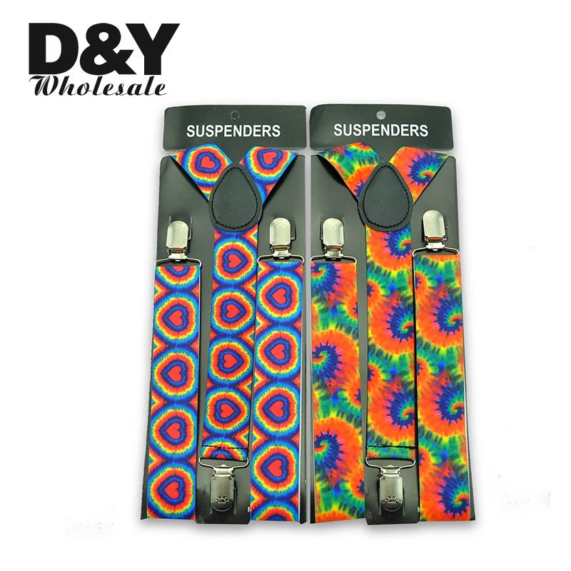 Hot Sale Personality 3D Heart Rainbow Colorful Suspenders Braces 3.5 Cm Width Y-back Adjustable Suspenders Braces For Women Men
